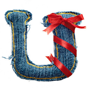 Magic holiday jeans alphabet letter U with red ribbon