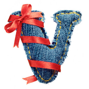 Magic holiday jeans alphabet letter V with red ribbon