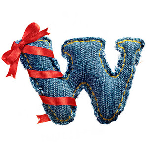 Magic holiday jeans alphabet letter W with red ribbon