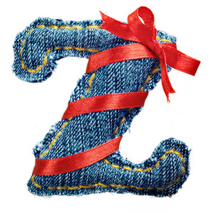 Magic holiday jeans alphabet letter Z with red ribbon