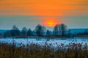 Magic winter sunset over snowy field
