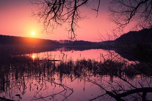 Magical sunrise over lake