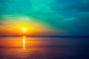 Magical sunrise over sea
