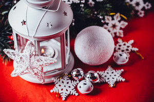 Magical white lantern with snowflakes
