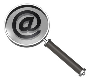 Magnifier With E-mail Sign Isolated On White.