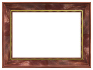 Mahogany With Gold Rectangular Frame Isolated On White Background.