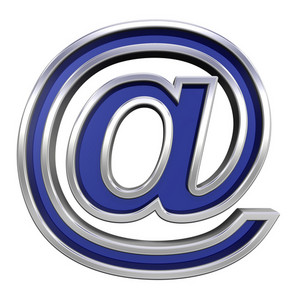 Mail Sign From Blue Glass With Chrome Frame Alphabet Set