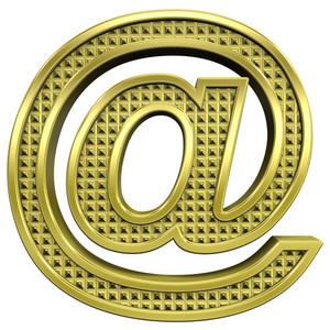 Mail Sign From Knurled Gold Alphabet Set