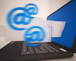 Mail Signs Leaving Laptop Shows Electronic Mails