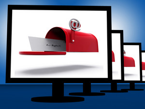 Mailbox On Monitors Shows Digital Correspondence