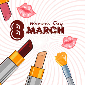 Make-up Articles With Glossy Lips And The Date Of Woman's Day. Vector.