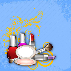 Makeup Cosmetcis On Floral Decorated Blue Background