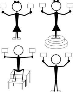Male And Female Stick Figures In Action