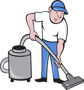Male Cleaner Vacuuming Vacuum Cleaning