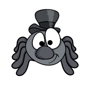 Male Funny Cartoon Spider - Halloween Vector Illustration