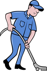 Male Worker Cleaning With Vacuum Cleaner