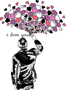 Male Writing I Love You. Vector Illustration