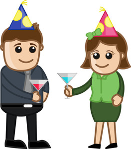 Man And Woman Having Drink In Business Party Celebration