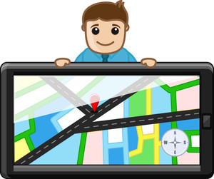 Man Behind Gps Device System - Maps Concept