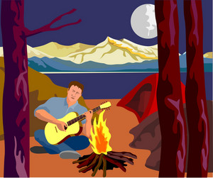 Man Camping Playing Guitar