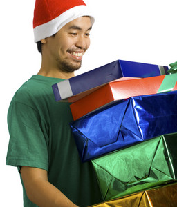 Man Carrying Lots Of Presents