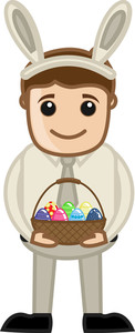 Man Celebrating Easter In Office - Cartoon Business Characters