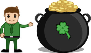 Man Celebrating St. Patrick's Day - Cartoon Business Characters