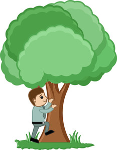 Man Climbing On A Tree Vector Illustration