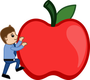Man Climing On Apple - Cartoon Vector