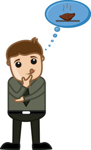Man Dreaming For Food - Cartoon Business Vector Character
