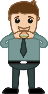 Man Eating Burger Vector