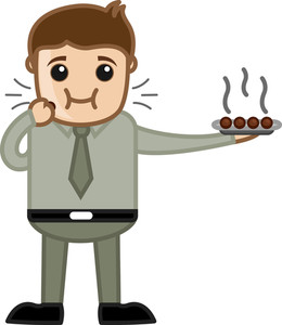 Man Eating Desert - Office Cartoon Character