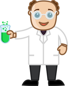 Man Experimenting With Chemicals - Office Character Vectors