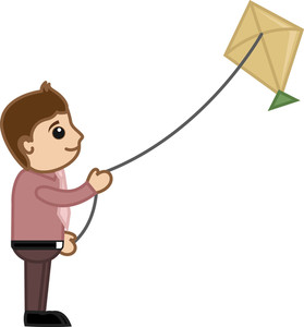 Man Flying Kite - Cartoon Business Characters