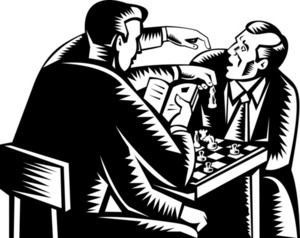 Man Four Arms Playing Chess