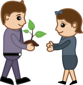 Man Gifting A Baby Plant - Vector Character Cartoon Illustration