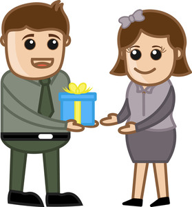 Man Giving Present And Gift Box - Cartoon Business Characters