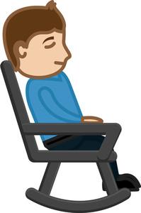 Man Having Rest On Swinging Chair