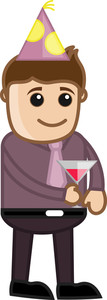 Man Having Wine - Cartoon Business Character