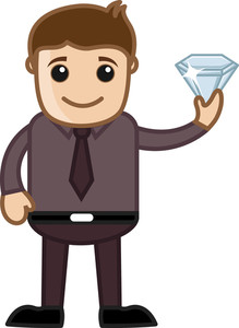Man Holding A Gem Stone - Cartoon Character Vector