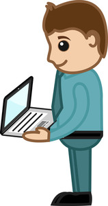 Man Holding A Laptop - Business Cartoons Vectors