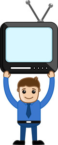 Man Holding A Tv Above Shoulders - Vector Illustration