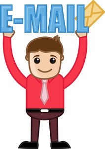 Man Holding An E-mail Text And Envelope - Vector Illustration