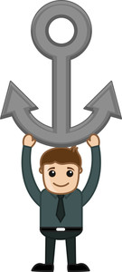 Man Holding Anchor - Vector Character Cartoon Illustration