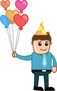 Man Holding Balloons - Cartoon Business Character