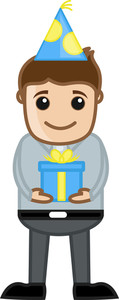 Man Holding Business Present - Cartoon Business Character