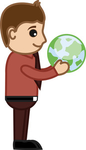 Man Holding Earth In His Hands - Office Character Vectors