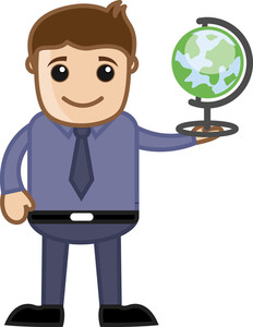 Man Holding Globe - Cartoon Office Vector Illustration
