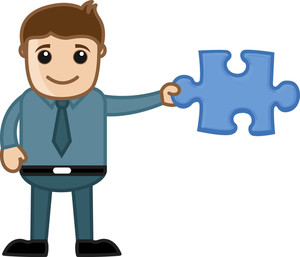 Man Holding Jigsaw Puzzle Piece