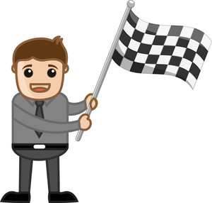 Man Holding Racing Flag